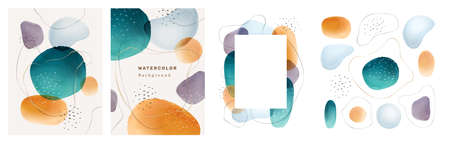 Brochures cover abstract watercolor design elements isolated backgrounds set. Vector presentation covers creative liquid fluid blotches backdrops. Pastel spot bubbles, minimal geometric textures Иллюстрация