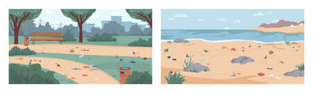 Dirt and debris on beach and in park, rubbish on ground and sand, vector flat cartoon illustration. Garbage in nature, polluted environment. Litter on seashore, river bank, at city parkland Иллюстрация