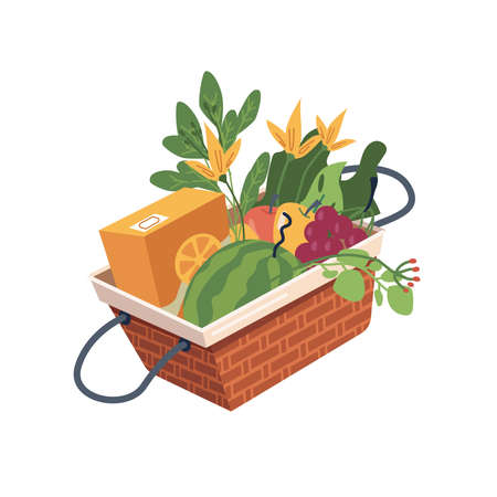 Basket with fruits and vegetables, watermelon, grapes and flowers, apples and orange juice in pack. Vector picnic food and drinks, fresh veggies and greens. Shopping grocery products, healthy meal
