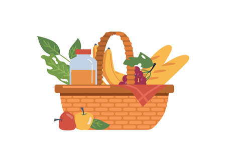 Baskets with food and drinks isolated, fruits and bakery flat cartoon icon. Vector wicker container juice bottle, baguettes and fresh apples. Bananas and grapes, checkered red napkin, dieting meal Illustration