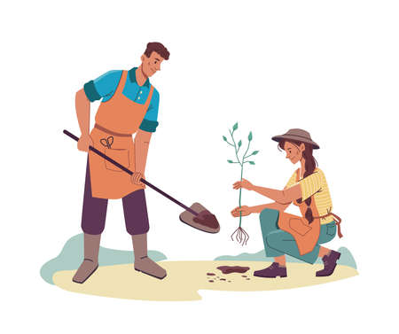 Cartoon people planting tree isolated man and woman farmers in aprons plant sprout into soil, characters gardening together. Vector husband with shovel or trowel, wife holding fruit-tree in hands