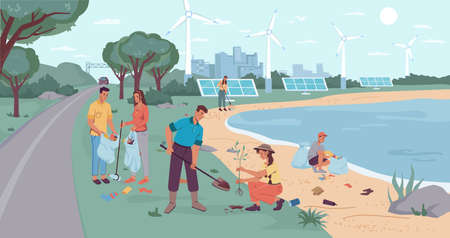 Eco-city environment, garbage collection and tree planting. People volunteers cleaning up beach from wastes, flat cartoon design. Vector windmills and solar panels, team of adults kids pickup rubbish