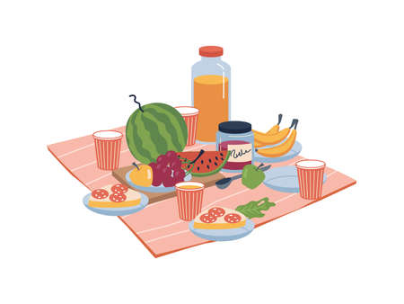 Food and drinks on nature, plate with sandwiches, bananas and grapes, apple and juice in glasses, snacks. Vector fruits and veggies on napkin blanket, jam and bread with sausages, flat cartoon Иллюстрация