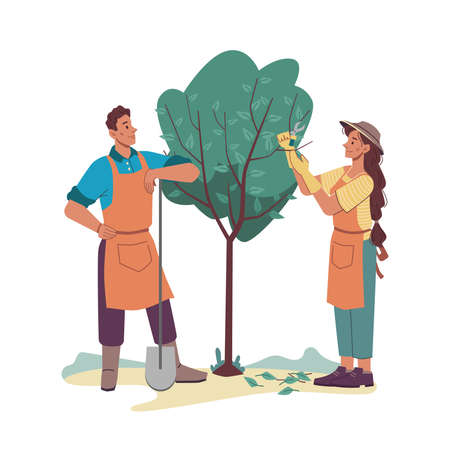 Agriculture gardeners take care of tree on farm or garden, cartoon characters. Vector man and woman cutting branches, planting and gardening together. Farmer in apron with shovel, female with cutters