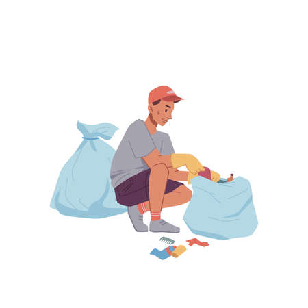 Man in rubber gloves collect litter into bags isolated flat cartoon. Vector ecologist clean globe, hobby activity to protect environment. Male activist in rubber gloves help to pick garbage into sack Illustration