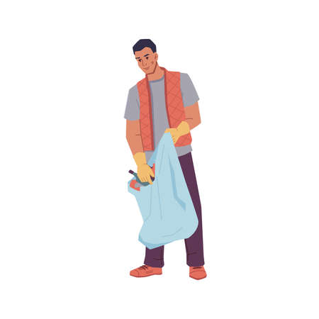 Volunteer man gathering trash into bag isolated flat cartoon character. Vector male activist in rubber gloves help to protect environment, pick garbage into sack. Ecologist clean globe, hobby activity