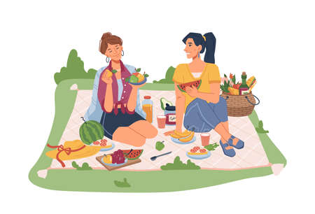 Female friends sitting on blanket on picnic, seating fruits and snacks. Vector sandwiches, juice and soda drink, bananas, basket with fruits and vegetables, spoon and hat, communicating girls Illustration