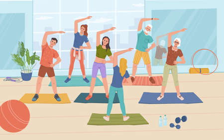 Fitness yoga classes in gym, healthy man and woman standing on mats and doing sport exercises, flat cartoon characters. Vector sportive people training together with instructor or trainer, workout Иллюстрация