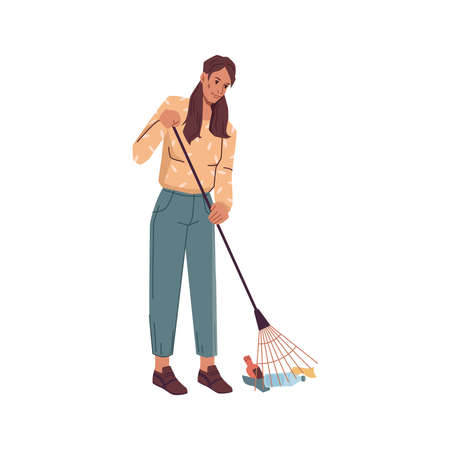 Volunteer woman with rake gathering garbage trash isolated. Vector cartoon female cleaning up from wastes, pickup bottles and papers gather litter, flat design. Adult lady protect environment Illustration