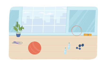 Sport room interior design elements, flat cartoon. Vector gym hall with window, potted plant, hoop and dumbbells, physical trainings mat and ball, rope and bottles of water on floor, sports equipment Illustration