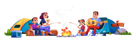Happy family campers by fire resting with tents isolated. Vector parents and children people sitting at campfire together, marshmallows barbeque. Mother, father, son daughter have fun at weekend