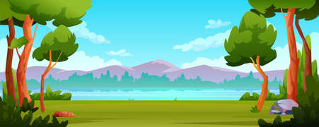 Landscape river bank, mountains beautiful scenery background. Vector trees and bushes in forest, green grass and stones, rocky hills and blue sky. Spring or summer backdrop, eco friendly environment Иллюстрация