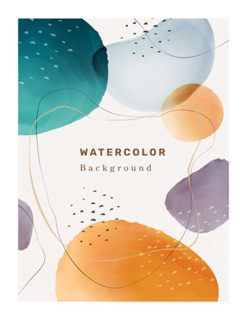 Creative paintbrush spots, watercolor blotch blots abstract 3D textured background. Vector shapes and frame, brochure cover, poster or banner with painted creative paintbrush spots, color blotches