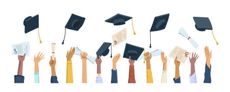 Multi ethnic hands throwing diplomas, mortarboard hats and certificates, graduation celebration flat cartoon people. Vector masters and bachelors graduate, caps throwing, happy students celebrate Illustration