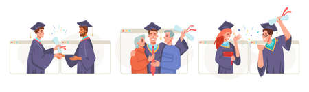 Graduate ceremony online set, new reality, social distance and online learning. Vector graduation video conference in laptop. College or university high school student commencement ceremony from home
