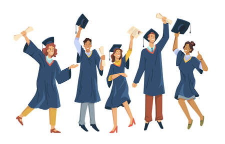 Graduated students celebrating graduation from college, university or high school. Vector happy students with diplomas wearing academic gown and mortarboard cap, group with education certificates Illustration