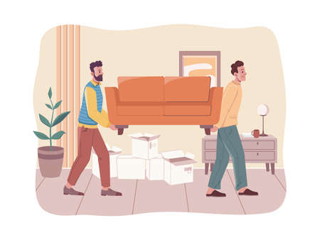 People moving to new house, room interior design. Vector loaders carrying furniture, lifting sofa. Vector new home, loading service, relocation and moving into new flat, delivery services, empty boxes
