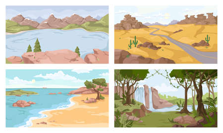 Landscapes set. Vector desert, sea and river, waterfall, sandy desert. Vector mountains and seashore, wild nature backgrounds. Green forest and coastlines, cactus and pine trees, travel adventures Illustration