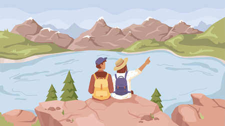 Landscape with lake river, mountains scenery and couple of travelers sitting on rock and enjoying scenery. Vector cartoon background panorama of spring summer nature, green fir trees, scenic blue lake Ilustração