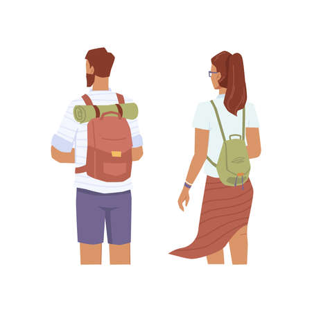 Travelers look into distance, man and woman with rucksacks back view, flat cartoon characters. Vector couple of tourists, young explorer travel together. Trekking people with backpacks, sleeping mat