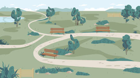 Park landscape from far, cartoon pathways. Green grass, bench and trees, path roads, summer scenery with blue sky. Walkway in park. Vector ecology clean nature, bushes, summertime forest panorama