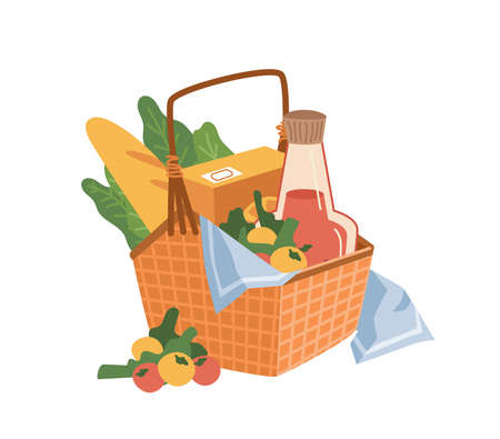 Basket with picnic products isolated flat cartoon icon. Vector food and drinks, cheese and bread, sandwich and croissant, bottle of wine and jam. Healthy organic meal in portable container on napkin