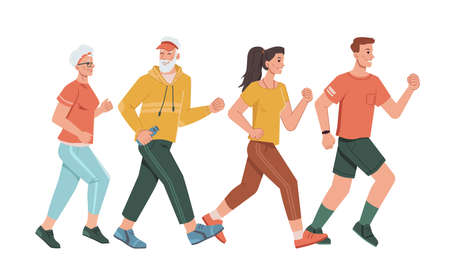 Family parents and grandparents running together isolated cartoon characters. Vector man with fitness band tracker, sportive pensioners, middle age man and woman joggers. Motivational sport trainings