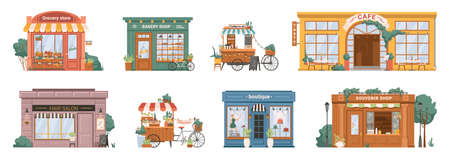 Grocery store and bakery, mobile coffee kiosk on bike, cafe restaurant and hair salon barbershop, florist flower store and clothing boutique, shop with souvenirs isolated building set facade exterior Illustration