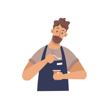 Man barista making coffee isolated flat cartoon character. Vector manual brew drip coffee and accessories, bearded man wearing apron preparing espresso. Standing young guy working in shop or cafe