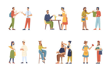 Clients and servants, buyers and sellers, consultants isolated flat cartoon people set. Vector shop assistant and baker, waiter in cafe restaurant, barber doing haircut, women selling grocery products