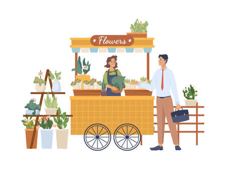 Man buys flowers at flower stand, woman seller sells bouquet in street shop isolated cartoon characters. Vector buyer at outdoor local market. Concept of retail, small business, private enterprise Illustration