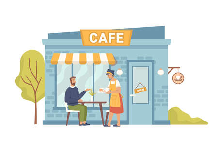 Street cafe, client man sitting and woman waiter serving order, flat cartoon illustration. Vector summer restaurant with tables chairs outdoors, tasty food snacks. Small european french cafeteria Ilustração