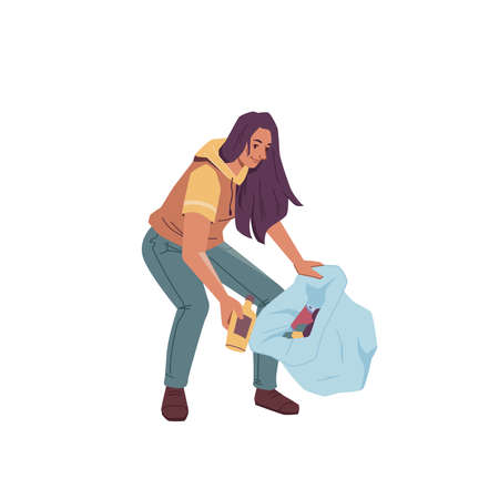 Volunteer woman with bag gathering garbage trash isolated flat cartoon character. Vector female cleaning up globe from wastes, pickup bottles and papers into bin, gather litter, protect environment