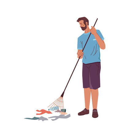 Cartoon man with rake gathering garbage trash isolated volunteer activist. Vector bearded adult male cleaning up floor from wastes, pickup bottles and papers gather litter, protect environment