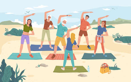 Group fitness outdoor class on beach, summer sport activities. Vector yoga exercise on fresh air, men and women training together with instructor, mats on sand, cartoon characters. Healthy lifestyle