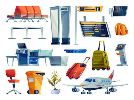 Set of airport cartoon icons isolated. Vector chairs seats row, boarding pass gates, check in boards and terminals. Plane, x-ray scan, luggage bags, litter container and plant, kiosk checking flight Ilustração