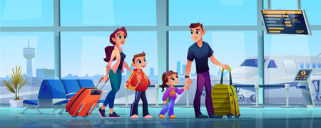 Traveling family and airport, mother, father and children with luggage in airport terminal. Vector parents and kids son daughter with luggage bags in hands. Airplanes and control tower outside window