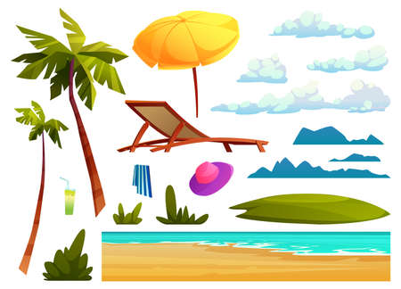 Summer beach design elements isolated set of cartoon icons. Vector sea or ocean waves, palm trees and clouds, chaise lounge and yellow umbrella, glass of cocktail and hat, striped towel, green bushes Illustration