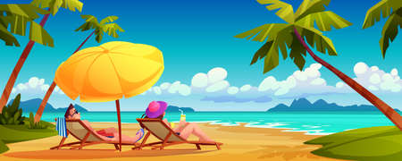 People sunbathe on summer beach, cartoon couple lying on chaise lounges under umbrella on ocean or sea shore. Tropical paradise, palms and landscape scenery, tourist holiday vacation place for rest