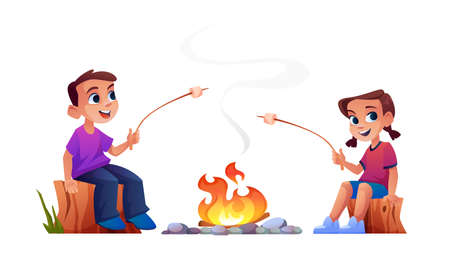 Happy children campers sitting at campfire together and marshmallow barbecue on fire. Vector boy and girl on wood logs resting on nature, summer adventure. Son and daughter with sticks cooking bbq