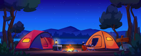 Camping tents on river bank, mountains and night sky on background, bonfire and lantern lamp on portable fridge, chair and flashlight. Vector forest scenery, trees and lake, hiking tourism, picnic