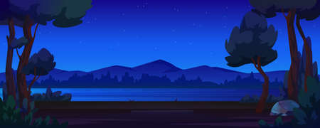 River bank, night forest and mountains, cartoon style background. Vector dark sky, summer tourism adventures, outdoors environment. Evening or early morning panorama, coast and hills, stone
