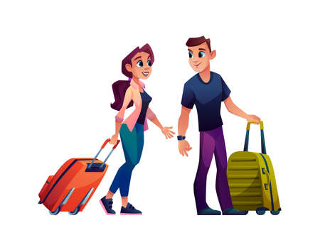 Happy young couple traveling with suitcase bags isolated cartoon characters. Vector man and woman with luggage, travel tourists going on vacation holiday rest. Adult people passengers go to journey