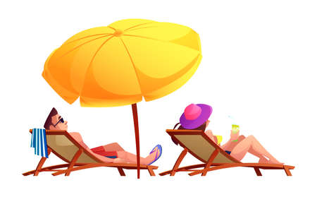 People sunbathe and drink cocktails on sun loungers under umbrella isolated cartoon characters. Vector man and woman resting together summer holiday adventures. Couple in swimsuits on rest, summertime Illustration