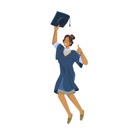 Happy afro american woman student leaping of joy in academic gown, mortarboard cap in hands isolated vector flat cartoon person. Vector international student celebrate university college graduation
