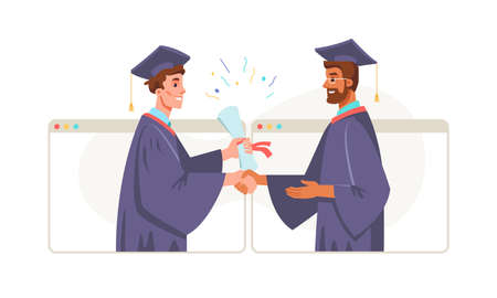 Graduation online, Bachelor Master degree student and lecturer professor in academic gown and mortarboard cap in computer screens. Vector graduate and presentation of certificate, diploma. Quarantine