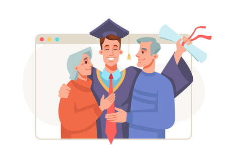 Graduation ceremony online, master or bachelor students get congratulations from parents. Happy cartoon people celebrate commencement college, university at home. Guy in mortarboard and gown