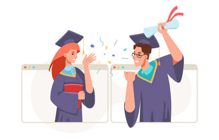 Graduation video conference in laptop, college or university high school student with diplomas in hands celebrate graduate ceremony from home.