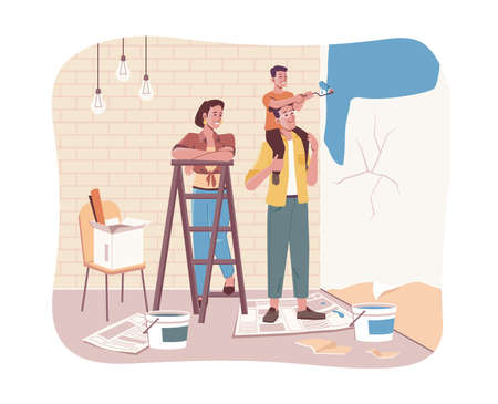 Family together doing house repair works. Vector son sitting on fathers shoulders, painting walls in new flat. Parents and children making renovation in apartments. Mother and ladder, kid with roller Illustration