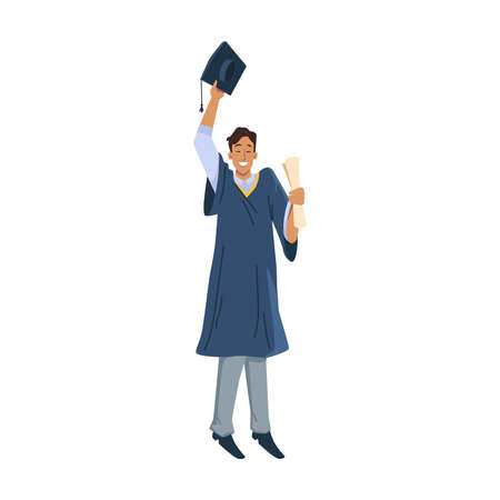Happy man graduated student celebrate graduation university, college or high school flat cartoon character. Vector male in academic gown and mortarboard cap in hand above head, diploma certificate